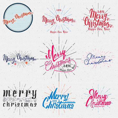 retro christmas: Merry christmas  and happy new year 2016 insignia  and labels for any use