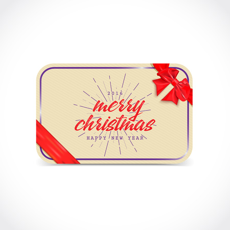 ribon: Merry Christmas greeting card with bow and ribon It can be used to design greeting cards