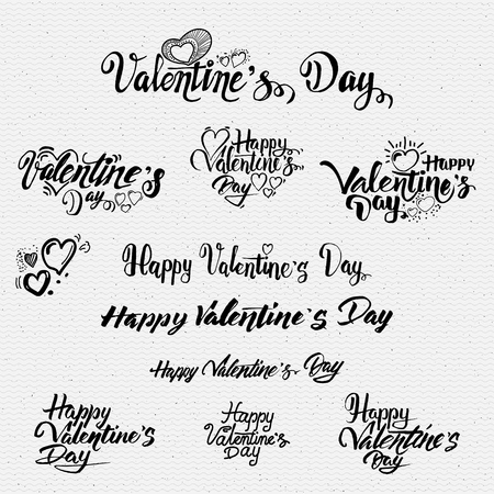 texts: Happy valentines day lettering options It can be used to design greeting card