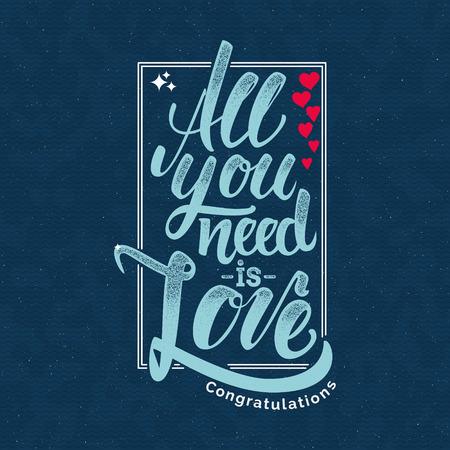 Tout votre besoin est l'amour Citation de lettrage à la main Il peut être utilisé comme une affiche, une carte postale ou une impression Banque d'images - 49768037