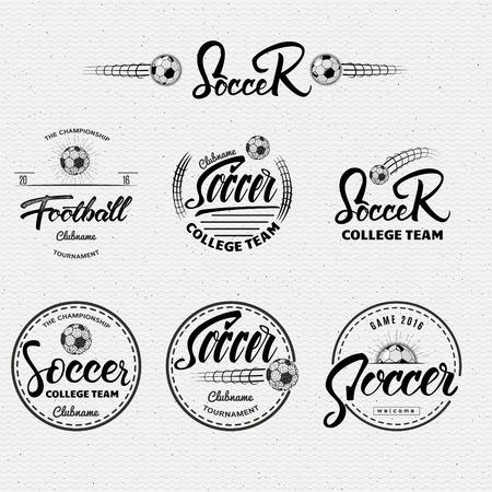 Football, Football main badges lettrage étiquettes peuvent être utilisées pour la conception, présentations, brochures, dépliants, matériel de sport, identité visuelle, les ventes Banque d'images - 49768038