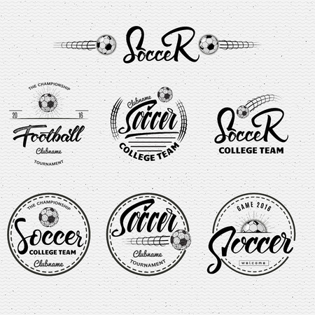 soccer club: Football, Soccer Hand lettering badges labels can be used for design, presentations, brochures, flyers, sports equipment, corporate identity, sales