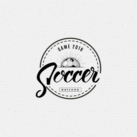 ball pen: Football, Soccer Hand lettering badges labels can be used for design, presentations, brochures, flyers, sports equipment, corporate identity, sales