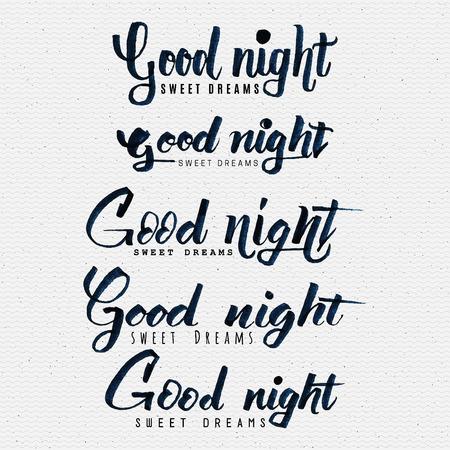 buonanotte: Buona notte sogni dolce mano lettering È possibile utilizzare le cartoline