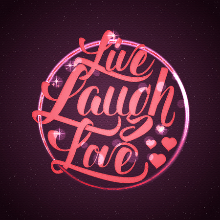 Live laugh love Hand lettering quote It can be used as the design for greeting card, poster, print or stamp Stok Fotoğraf - 49768254
