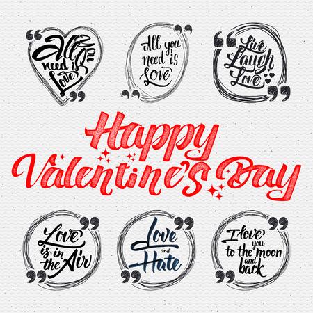 Happy valentine est citations de jour. Tout ce que vous avez besoin est amour, l'amour en direct de rire, l'amour est dans l'air, l'amour et la haine, je t'aime à la lune et retour Banque d'images - 49923076