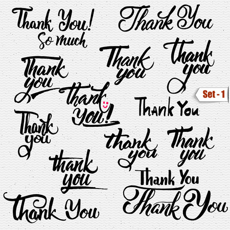 Thank you - typographic calligraphic lettering It can be used to design greeting cards, magazines, posters, Stok Fotoğraf - 49923077