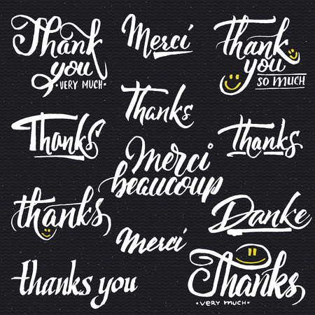 you can: Thank you, merci beaucoup, danke - typographic calligraphic lettering It can be used to design greeting cards, magazines, posters,