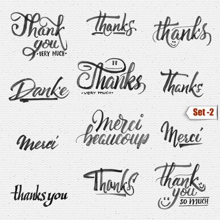 tipos de letras: Gracias, merci beaucoup, danke - las letras caligr�ficas tipogr�fica Se puede utilizar para dise�ar tarjetas de felicitaci�n, revistas, carteles,