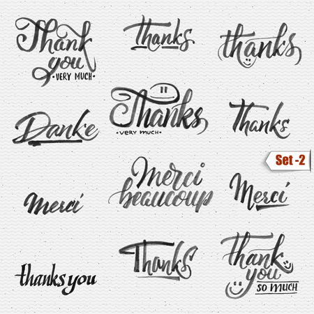 Thank you, merci beaucoup, danke - typographic calligraphic lettering It can be used to design greeting cards, magazines, posters,