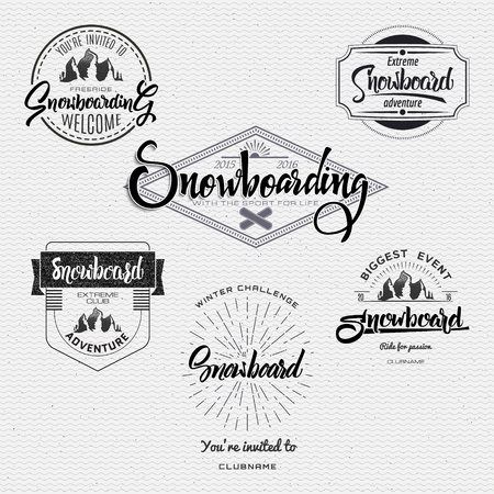 vintage landscape: Snowboard badge and label It can be used to design clothes for presentations as Illustration