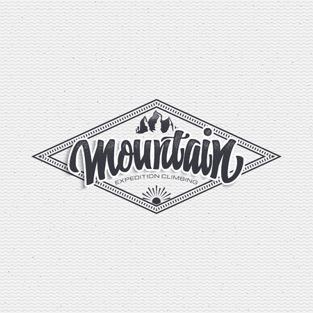 Graphical representation of the mountain icon rays word Gora write calligraphy - lettering, assembled in a typographic sign Fonts