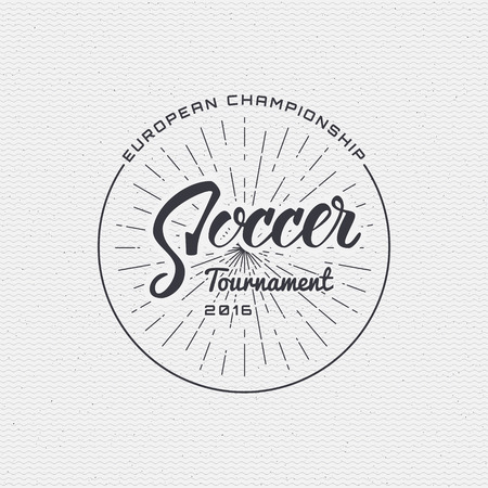 be the identity: Football, Soccer tournament, championship, league Hand lettering badges labels can be used for design, presentations, brochures, flyers, sports equipment, corporate identity, sales made in one monochrome