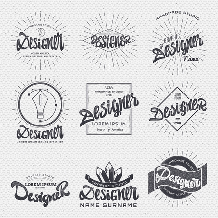 graphic icon: Designer - calligraphic writing the word, lettering, using design elements, ribbons, rays, made insignia