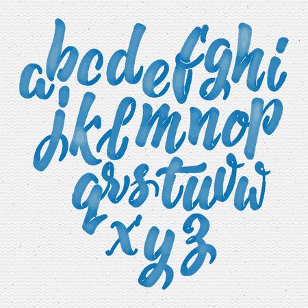 alfabeto graffiti: A mano pennello scrittura dei caratteri Pu� essere usato per progettare loghi, segni, etichette, cartoline, poster Vettoriali
