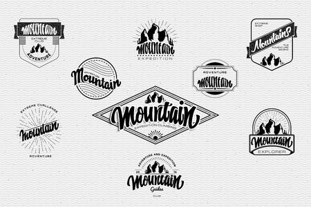 Grafische weergave van de berg pictogram stralen woord Gora brief kalligrafie - belettering, geassembleerd in een typografisch teken Fonts Vector Illustratie