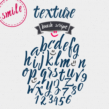 Hand drawn font handwriting brush It can be used to design logos, badges, labels, postcards, posters Stok Fotoğraf - 51881653