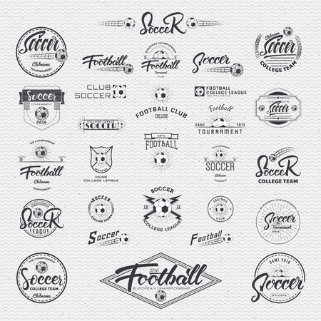 banni�re football: calligraphique Soccer �crit en collaboration avec les polices et les logos autocollants recueillies � l'aide de ellementov graphique - ball, rayons, �toiles, tecture, des formes g�om�triques