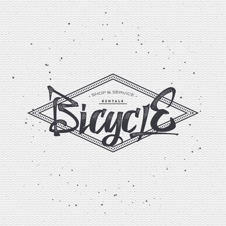 assembled: Bicycle badge insignia, monochrome using geometric shapes assembled in typographic elements on textured background worn paper Illustration