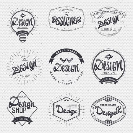 insignia: Diseño - caligráfica de escribir la palabra, las letras, el uso de elementos de diseño, cintas, rayas, hecho insignias