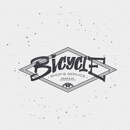 worn paper: Bicycle badge insignia, monochrome using geometric shapes assembled in typographic elements on textured background worn paper Illustration