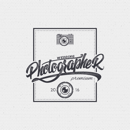 worn paper: Photographer badge insignia, monochrome using geometric shapes assembled in typographic elements on textured background worn paper