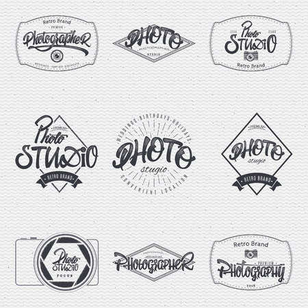 photography logo: Photographer Photo studio badge insignia, monochrome using geometric shapes assembled in typographic elements on textured background worn paper
