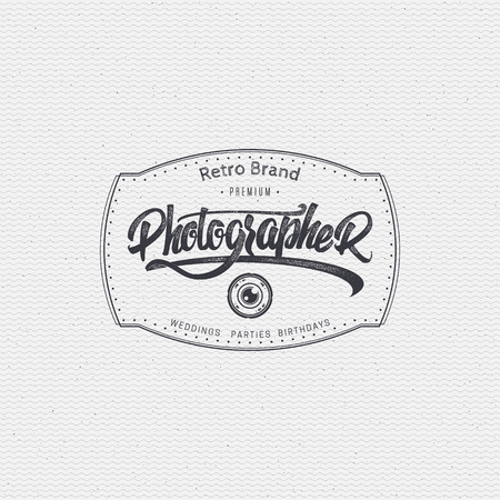 digital camera: Photographer badge insignia, monochrome using geometric shapes assembled in typographic elements on textured background worn paper