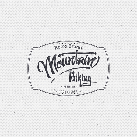 mountain biking: Mountain biking sign handmade differences, made using calligraphy and lettering using geometric elements ways and assembled in the badge using typographic rules