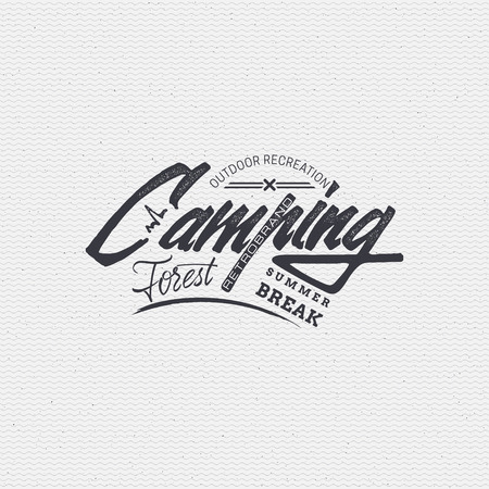 tree texture: Camping sign handmade differences, made using calligraphy and lettering using geometric elements ways and assembled in the badge using typographic rules Illustration