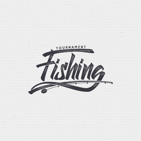 Différences de pêche signe de la main, faites en utilisant la calligraphie et le lettrage à l'aide d'éléments géométriques moyens et assemblés dans le badge en utilisant des règles typographiques Banque d'images - 55198851
