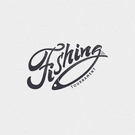 Fishing sign handmade differences, made using calligraphy and lettering using geometric elements ways and assembled in the badge using typographic rules