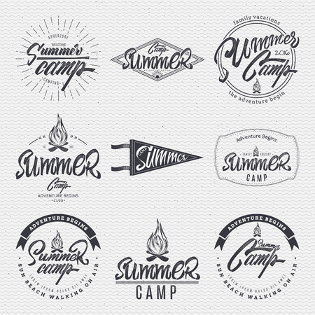 summer camp typographic design mark made using a combination of the composition of geometric forms, rays, letters, painted by hand with the help of lettering and calligraphy skills Stok Fotoğraf - 55199126