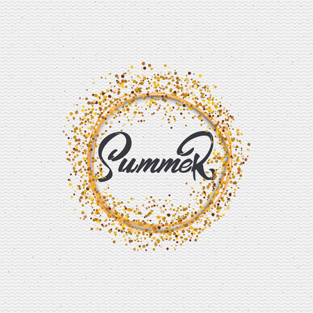 summer border: Summer icon is made with the help of lettering and calligraphy skills, use the right typography and composition. Illustration