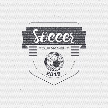 be the identity: Football, Soccer tournament, championship, league Hand lettering badges labels can be used for design, presentations, brochures, sports equipment, corporate identity, sales made in one monochrome