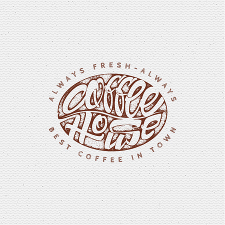 coffee house: Coffee house - insignia is made with the help of lettering and calligraphy skills, use the right typography and composition.