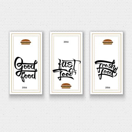 comida rica: La comida rápida, comida fresca, buena comida - insignias se hace con la ayuda de las letras y de la caligrafía habilidades, utilizar la tipografía y la composición correcta. Vectores