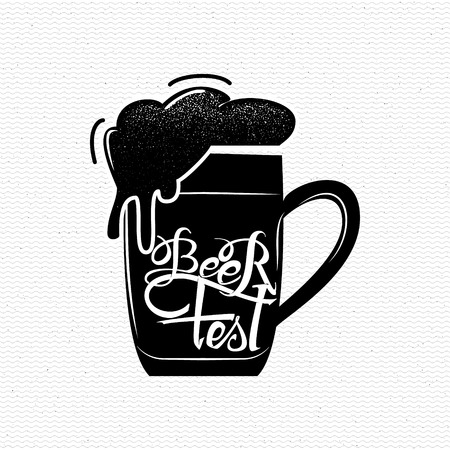 beer fest: Beer Fest - Badge drawn by hand, using the skills of calligraphy and lettering, collected in accordance with the rules of typography Illustration