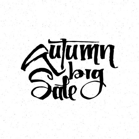 accordance: Hello Autumn - Badge drawn by hand, using the skills of calligraphy and lettering, collected in accordance with the rules of typography