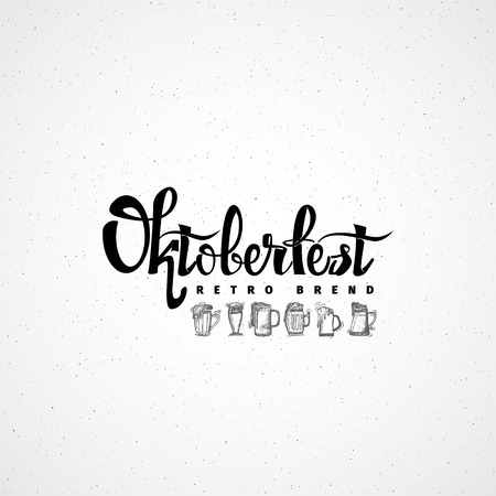 accordance: Beer Fest oktoberfest- Badge drawn by hand, using the skills of calligraphy and lettering, collected in accordance with the rules of typography Illustration