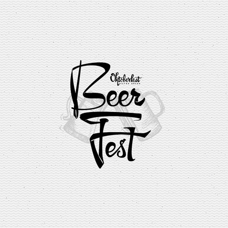 beer fest: Beer Fest oktoberfest- Badge drawn by hand, using the skills of calligraphy and lettering, collected in accordance with the rules of typography Illustration