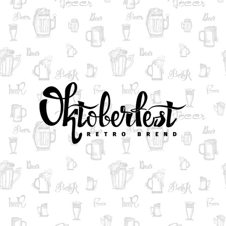 beer fest: Beer Fest oktoberfest on the seamless pattern of beer mugs- Badge drawn by hand, using the skills of calligraphy and lettering, collected in accordance with the rules of typography Illustration