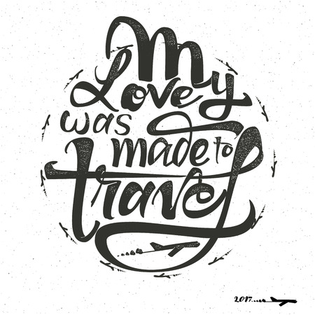accordance: Travel is my terapy -Badge drawn by hand, using the skills of calligraphy and lettering, collected in accordance with the rules of typography.
