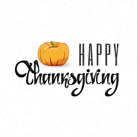 accordance: Happy Thanksgiving Day - Badge drawn by hand, using the skills of calligraphy and lettering, collected in accordance with the rules of typography. Illustration