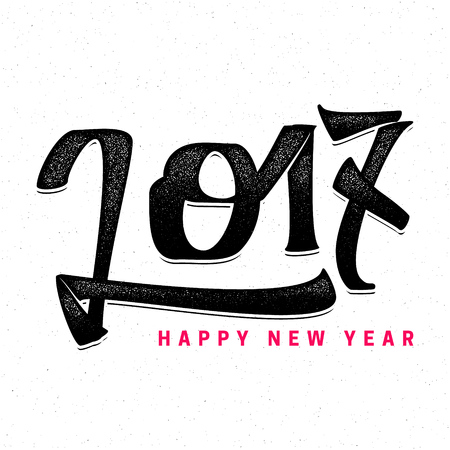 accordance: Happy new year 2017- Badge drawn by hand, using the skills of calligraphy and lettering, collected in accordance with the rules of typography.