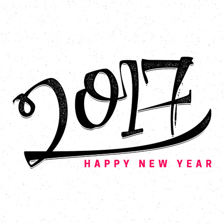 new rules: Happy new year 2017- Badge drawn by hand, using the skills of calligraphy and lettering, collected in accordance with the rules of typography.