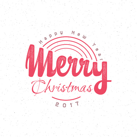 accordance: Merry christmas and happy new year 2017 hand-lettering text . Badge drawn by hand, using the skills of calligraphy and lettering, collected in accordance with the rules of typography.