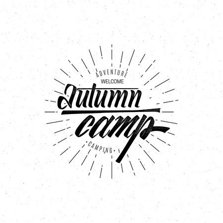 accordance: Autumn camp - Badge drawn by hand, using the skills of calligraphy and lettering, collected in accordance with the rules of typography