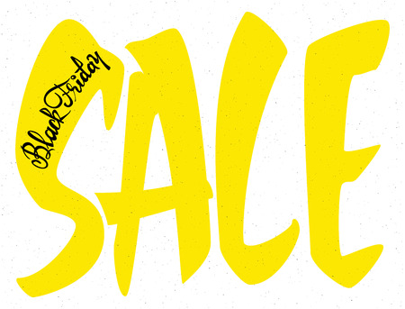 accordance: Sale black friday Badge drawn by hand, using the skills of calligraphy and lettering, collected in accordance with the rules of typography