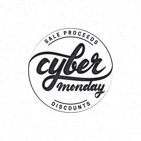 accordance: Cyber monday hand-lettering text . Badge drawn by hand, using the skills of calligraphy and lettering, collected in accordance with the rules of typography. Illustration